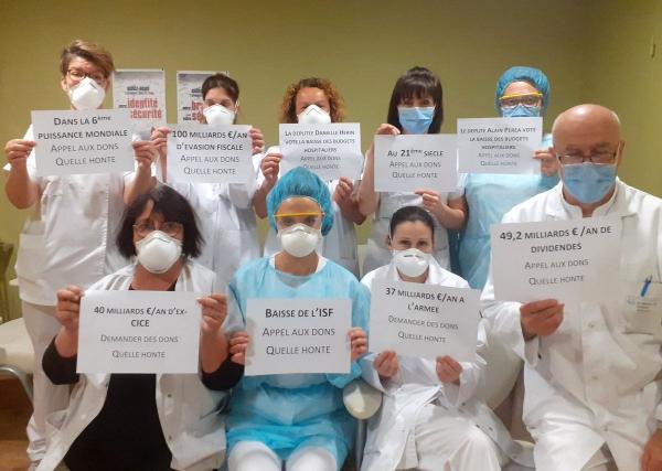Le personnel soignant de l'hôpital de Lézignan a un message, avr. 2020